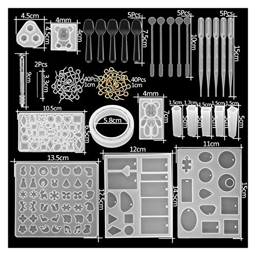 JSJJAYU Resin Molds 300Pcs Jewelry Epoxy Silicone Casting Molds Sets Mixed Style UV Resin Tools Molds For Diy Jewelry Making Findings Kits Supplies (Color : KT0023 20)