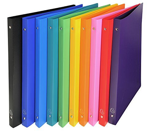 Exacompta Opaque PP Flexible Covers Ring Binder, A4, 2 Rings, 20 mm Spine - Assorted Colours, Pack of 10