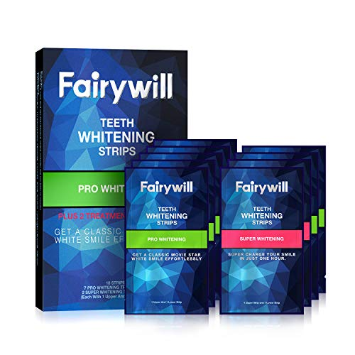 Fairywill Pro Teeth Whitening Strips Non-Slip for Sensitive Teeth, Whitener Strips Remove All Manner of Stains in 30mins, 18 Pcs Teeth Strips Dental Formula