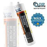DIP-Tools Montagekleber - Geruchsarmer und Wasserfester Universal Montage Kleber für Innen & Außen - transparent (1, 290ml)
