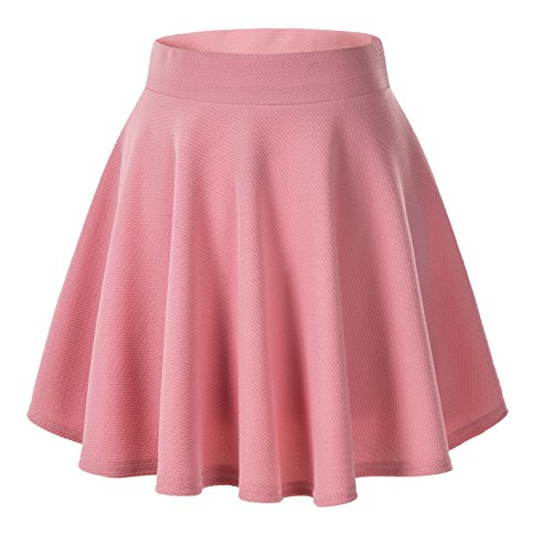 Urban GoCo Falda Mujer Elástica Plisada Básica Patinador Multifuncional Corto Falda (L, Rosado)
