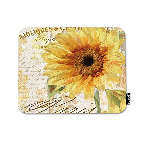 Mugod Sunflower Mouse Pad Oil Painting Vibrant Flower in Newspapers Yellow Green Mouse Mat Non-Slip Rubber Base Mousepad for Computer Laptop PC Gaming Working Office & Home 9.5x7.9 Inch