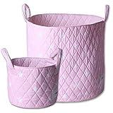 Minene Large & Small tessuto cestino portatutto, organiser, nursery, bambini, Star Storage Pink & White Stars