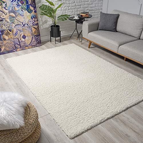 Impression Wohnzimmerteppich - Hochwertiger Öko-Tex zertifizierter Flächenteppich - Solid Color Teppich Creme - Größe 120x170