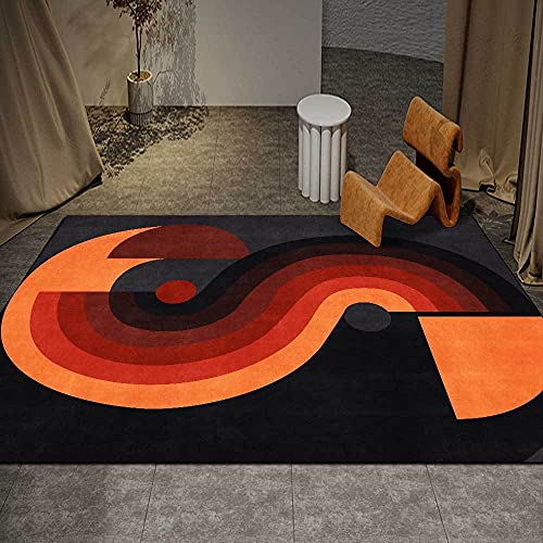 Diseño Extra Grandes Moderno Pelo Corto Funky Area Carpet Simple geometría Negro Rojo Naranja oscuro120x180cm(4'0''x6'0'')
