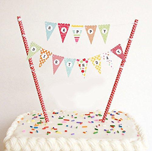 Regendeko Happy Birthday Bunt Girlande Kuchendekoration Cake Toppers Geburtstagskuchen Deko