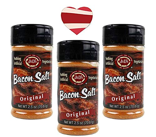 J&D's Original Bacon Salt (3 Pack + Sticker) - Low Sodium Bacon Flavored Seasoning Salts + Bacon Heart Sticker