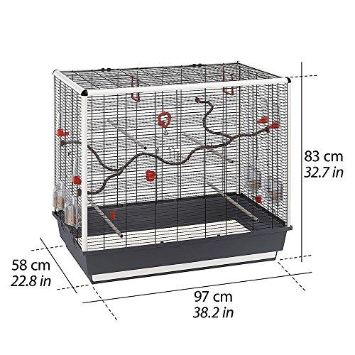 Feplast 52065817W1 Jaula de Grandes Dimensiones para Canarios, Periquitos y Otros Pequeños Pájaros Piano 7, Diseño Simple y Lineal, Accesorios Incluidos, 97 x 58 x 83 Cm Negro