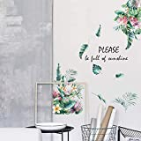 Green Plants Leaves Wall Decals, DILIBRA Nature Palm Tree Leaf Plants Wall Sticker Art Murals, Removable Peel and Stick DIY Flowers Wall Decor for Bedroom Living Room Offices Home