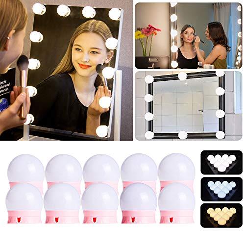 Dimmbar Schminklicht, Led Spiegelleuchte mit 10 Dimmbar Glühbirnen 7000K Schminktisch Spiegel Lichter Set für Kosmetikspiegel, Schminktisch/Badzimmer Spiegel Rosa