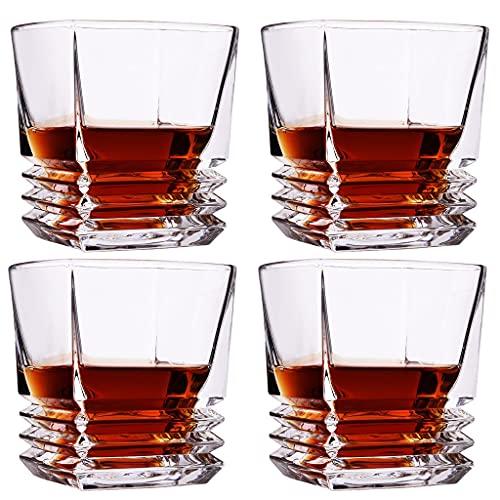 Vaso De Whisky Vasos De Whisky A La Antigua 10 Oz Utensilios De Bar para Bebidas Escocesas Borbónicas Licores Y Cócteles Juego De 4 (Color : Clear, Size : 8.8×9cm)