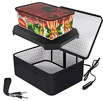 Portable Oven 12V Car Food Warmer Lunch Box Personal Portable Microwave Electric Slow Cooker for Prepared Meals Reheating & Raw Food Cooking For Road Trip/traveling/Picnic/Camping Black