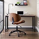 Volans Home Office Chair, Modern Bentwood and Leather Upholstery Armless Swivel Desk Chair with Casters Wheels, Adjustable Height Task Chair, Brown