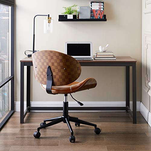 Volans Mid Century Modern Faux Leather Home Office Chair with Wheels, Armless Bentwood Desk Chair, Brown