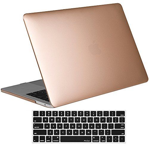 ProCase MacBook Pro 15 Case 2019 2018 2017 2016 Release A1990/A1707, Hard Case Shell Cover and Keyboard Cover for MacBook Pro 15' (2019/2018/2017/2016) with Touch Bar & Touch ID -Gold