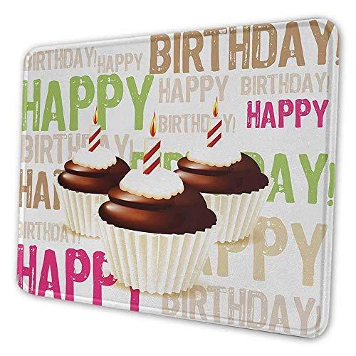 Geburtstag personalisierte Mauspad Grunge Retro alles Gute zum Geburtstag Muster mit drei Schokoladen Cupcakes Kerzen drucken geeignet für Büro Mauspad mehrfarbig