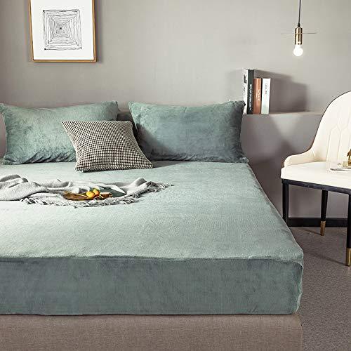 HAIBA Colcha de terciopelo de cristal para cama Queen King reversible de doble cara, de algodón puro, acolchado, súper suave, cómoda, sábana de cama verde, 180 x 200 cm + 28 cm