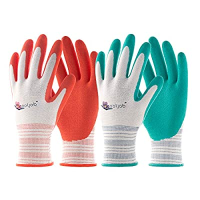COOLJOB Gardening Gloves for Women, 6 Pairs Breathable Rubber Coated Garden Gloves, Outdoor Protective Work Gloves Medium Size fits Most, Red & Green (Half Dozen M) by COOLJOB