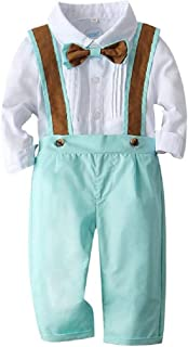 Tommelise Baby Boys Clothes Sets Bow Ties Shirts +Matching Detachable Suspenders Pants Gentleman Outfits Suits (Green, 90(13-18M))