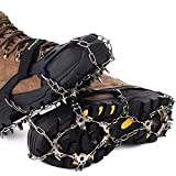 Songwin 19 Teeth Walk Traction Ice Cleat Spikes Crampons,True Stainless Steel Spikes And Durable Silicone,Boots For Hiking Camping Moutaineering. (Black, L)