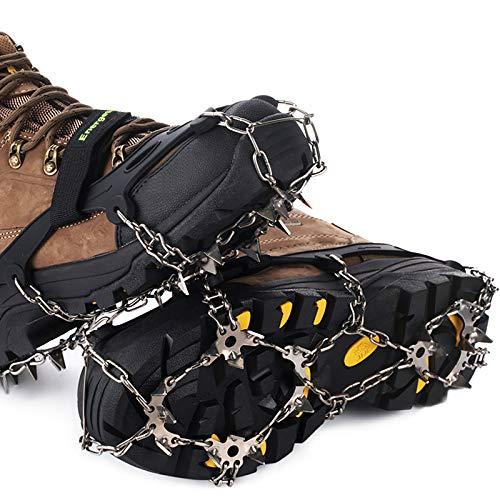 Ice Klampen Steigeisen mit 19 Zähne,Wahre Edelstahl Spikes und langlebiges Silikon,Schuhkrallen Anti Rutsch Schuhspikes für Winter Walking Wandern Bergsteigen. (Schwarz, XL)