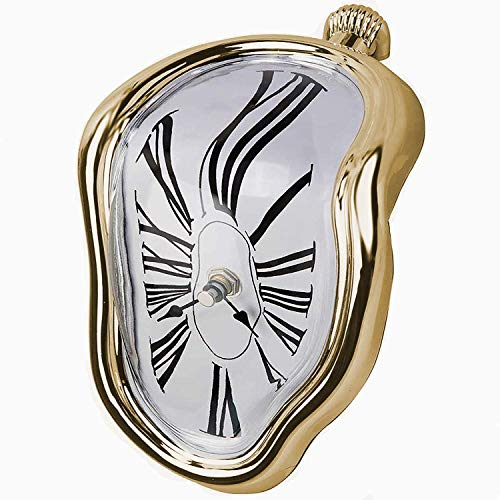 FAREVER Schmelzende Uhr, Salvador Dali Uhr, geschmolzene Uhr für dekoratives Zuhause, Büro, Regal, Schreibtisch, Tisch, lustiges kreatives Geschenk, Gold