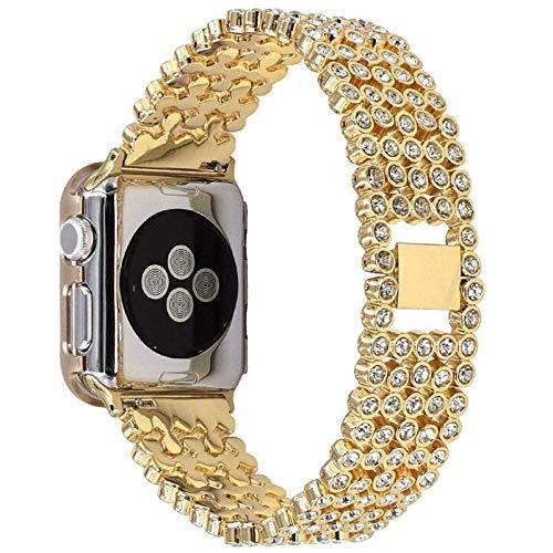 La correa es compatible con las correas de Apple Watch. 42 mm 44 mm iWatch SE serie 6/5/4/3/2/1, brazalete de metal de joyería liviana con diamantes, oro rosa
