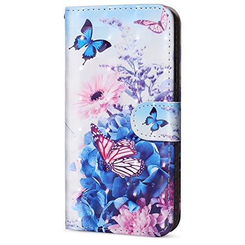 QPOLLY iPhone 5C Hülle Ledertasche Klappbar Brieftasche,3D Bunt Bemalt Muster PU Leder Handy Tasche Kartenfächer Handyhülle Schutzhülle Wallet Flip Case für iPhone 5C,&Blume