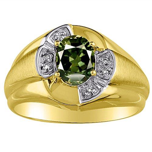 Exótico verde zafiro y anillo de diamante en 14K amarillo o 14K oro blanco