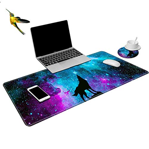 ROSSY Extended Gaming Mouse Pad Desk Mat Keyboard Pad,Galaxy Wolf Design Large XXL Mousepad (31.5x11.8inch) for Work Gaming Office Home + Coffe Cup Coaster and Cute Stickers