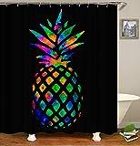 SARA NELL Bling Tie Dye Regenbogen Ananas Duschvorhang, Ananas Badvorhänge Badezimmer Dekorationen Home Decor Sets 183 x 183 cm mit 12 Haken