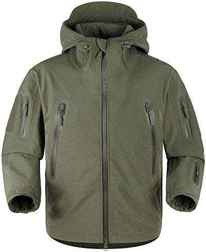 TACVASEN wasserdichte Jacke Herren Outdoor Camping Angeln Jacke Men's Fleece Jacke Outdoorjacke Armee Grün