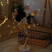LED バーチツリー イルミネーション 卓上 飾リ 50cm 36/108LED ブランチ 電池USB両用 ホワイトライト (72 Gold Leaves)