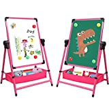 Kids Art Easel Double Sided Whiteboard & Chalkboard 26inch-43inch Height Adjustable & 360°Rotating