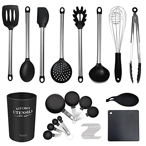 Silicone Cooking Utensils Cookware Set Stainless Steel Handle Kitchenware Kit Baking Tools Spatula Shovel with Storage Box (Color : Black-29pcs-B)