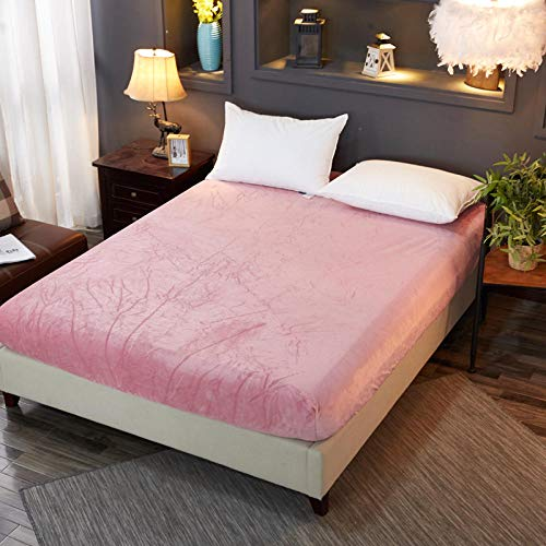 N / A Fitted Sheet King Size bed,Coral Fleece Solid Color High and Low Bed Sheet Student Fitted Sheet Mattress Protective Cover-red_bean_paste_200cmX220cm+25cm