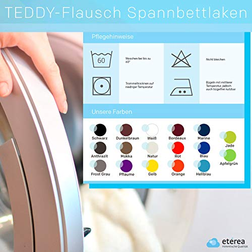 #11 Etérea Teddy Flausch Kinder-Spannbettlaken, Spannbetttuch, Bettlaken, 18 Farben, 60×120 cm – 70×140 cm, Hellblau - 5