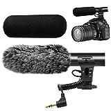 Tikysky カメラ マイク ビデオ マイク DSLR用 インタビュー ショットガン マイク Canon Nikon Sony Panasonic Fuji Videomic用 ウィンド スクリーン付き 3.5mm ジャック マイク 防風 カバー付き ブラック