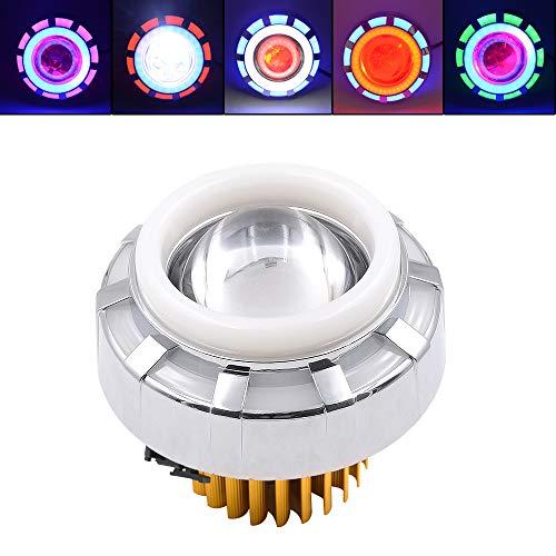 IQQI Motorrad-Universal-LED-Scheinwerfer, Dual-Aperture Hallo/Low Beam LED Projektor-Scheinwerfer Angel Eyes Devil Eyes Für Motorrad,Blue+red