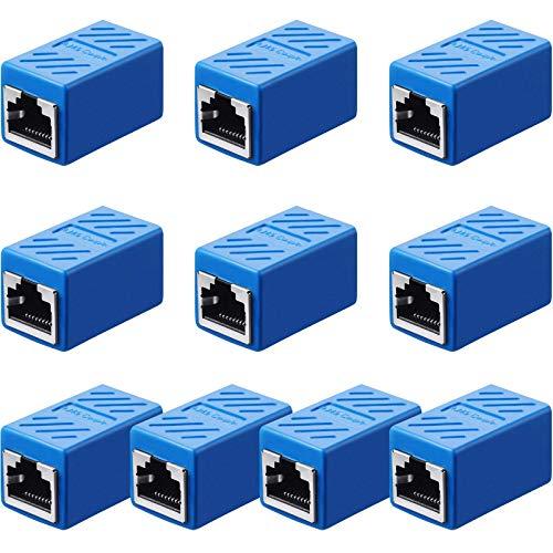 Frienda Acoplador RJ45, Adaptador de Extensión Ethernet Conector de Red para Cat7/...