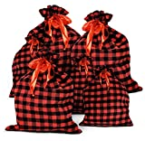 6 Christmas Fabric Gift Bags Red and Black Buffalo Plaid Drawstring Bag for Holiday Wrapping Extra...