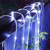 Double east Solar Lichterkette Außen,100/200/300 LED Solar Lichterketten im Freien Lichterketten Splitter Draht Lichter PVC Rohr Lichterkette für Gartenzaun