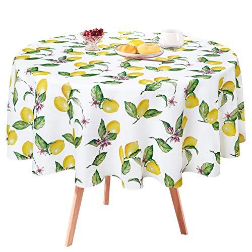 Zitronen-Tischdecke, gelbe Zitronen, Tischdecke für Frühling und Sommer, wasserdicht, knitterfrei, Tischdecke für Küche, Esszimmer, Picknick, Party, Bankett, Außen- und Innenbereich, rund, 140 cm