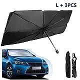車のフロントガラスの傘のための日よけ、折り畳み式の車の日傘ブロック熱UV、反射して車をUVの太陽と熱から保護するための車の夏の日焼け止め冷却傘 (3PCS, L)