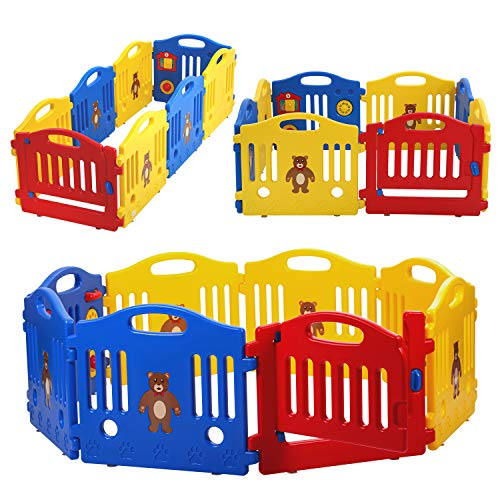 HCB Baby Playpen, Baby Gate, 8-Panel Kids Activity Center Safety Play Yard Play Pen with Games Station Non-Slip Foot Mats, Lock Door for Indoor, Outdoor