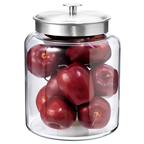 Anchor Hocking 2-Gallon Montana Glass Jar with Fresh Seal Lid, Brushed Metal, Set of 1
