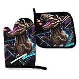 uytrgh - Juego de manoplas para cocina con tiranosaurio Rex Dinosaurio retrowave resistente al calor antideslizante guantes