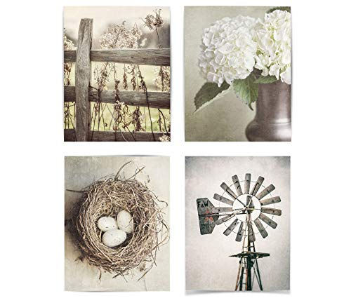 Farmhouse Shabby Chic Set of 4 Wall Art Prints (Not Framed). 5x7, 8x10, 11x14, or 16x20. Tan, Beige and Soft Gold Rustic Fence, Flowers, Nest and Windmill. (FBM4L)