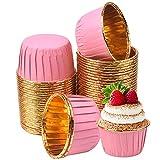 Chstarina 50Pcs Moldes de Aluminio para Magdalenas, Tazas de Aluminio Desechables para Hornear, Moldes de Hornear para Muffins y Cupcakes, para Boda, Fiesta, Cumpleaños, Navidad (rosa)