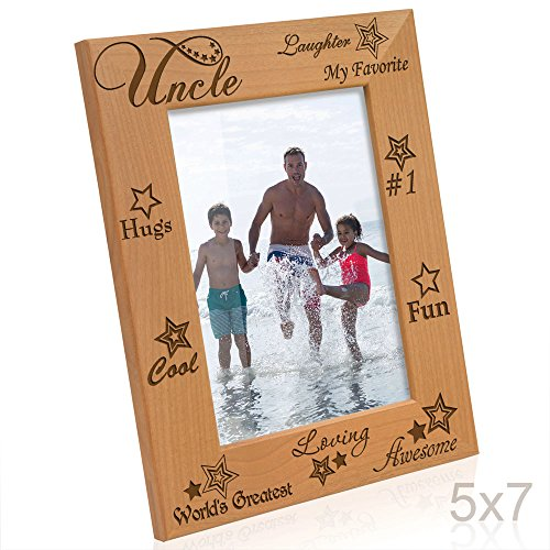 KATE POSH My Awesome, Cool, Loving, Favorite Uncle Engraved Natural Wood Picture Frame, Best Uncle Ever Gifts (5x7 Vertical)
